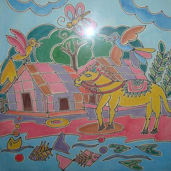 শিল্পকর্ম- ডিজাইন, শিল্পী- সূলতানা নাসরিন, মাধ্যম- পোস্টার কালার