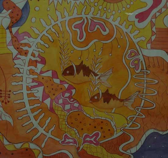 শিল্পকর্ম- নিসর্গ, শিল্পী- জাহাঙ্গীর আলম, মাধ্যম- কালি ও কলম