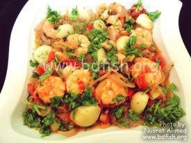 দেশী স্বাদের মরিচ-রসুন চিংড়ি (Chilli Garlic Prawn)