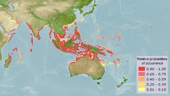 Anodontostoma chacunda মাছের ভৌগলিক বিস্তৃতি Aquamap (2014)
